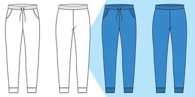 contour du pantalon de survêtement avec motif devant et dos vecteur