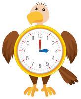 Horloge aigle sur fond blanc vecteur