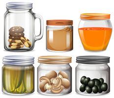 Différents types de nourriture dans des bocaux vecteur