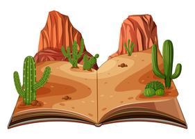Une scène de livre pop-up du désert