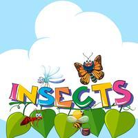 Insectes Word avec de nombreux insectes sur les feuilles vecteur