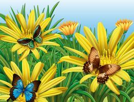 Papillons dans le jardin vecteur
