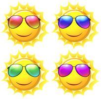 Soleil portant des lunettes de soleil de couleurs différentes vecteur