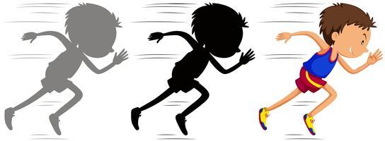 Homme qui court en course avec sa silhouette