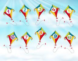 Cerf-volant avec le numéro un à dix