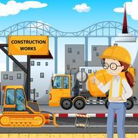 Un ingénieur sur un chantier de construction vecteur