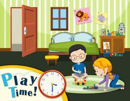 Garçon et fille jouant des jouets