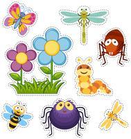 Ensemble d'autocollants avec des fleurs et des insectes vecteur