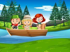 Camping garçon et fille explorant la nature vecteur