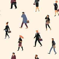 Modèle sans couture avec les gens qui vont au travail. vecteur