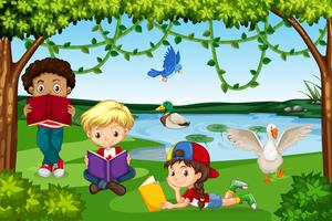 Enfants lisant des livres dans la nature vecteur