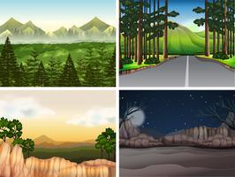 Scènes de fond avec des arbres en montagne vecteur