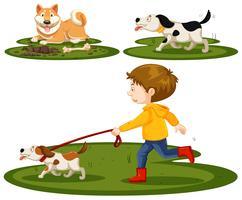 Ensemble de garçon et de chiens