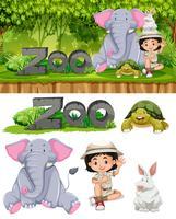 Safari fille et animaux de zoo vecteur
