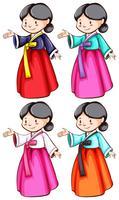 Les femmes portant les costumes asiatiques vecteur