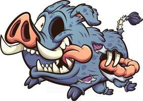 sanglier zombie de dessin animé vecteur