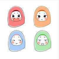 ensemble de femme musulmane avec des avatars d'expressions vecteur