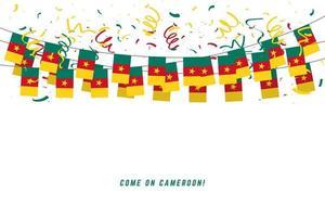 drapeau de guirlande du Cameroun avec des confettis sur fond blanc. vecteur
