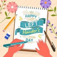 une typographie de lettrage avec la main gauche et des fleurs vecteur