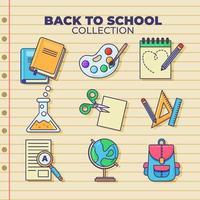 collection d'icônes de retour à l'école vecteur