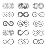 ensemble d'icône du logo boucle infini vecteur