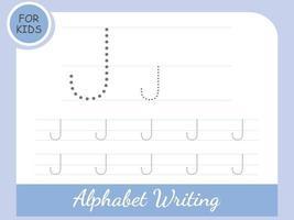 vecteur gratuit : lettre j traçage des feuilles de calcul de l'alphabet