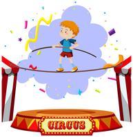Cirque sur la corde raide d'un garçon