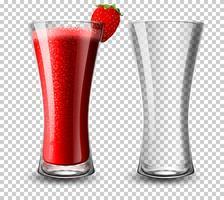 Ensemble de verre à cocktail à la fraise vecteur