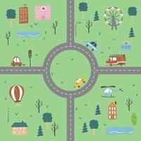 carte de la ville des enfants des transports et de la route. illustration vectorielle. vecteur