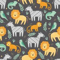 modèle sans couture avec de mignons animaux africains vecteur