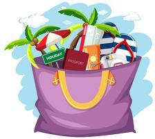 Objet de vacances d'été dans le sac vecteur