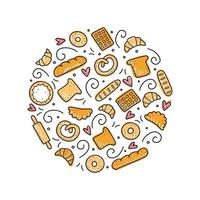 ensemble d'éléments de boulangerie et de pâtisserie dessinés à la main. illustration vectorielle. vecteur