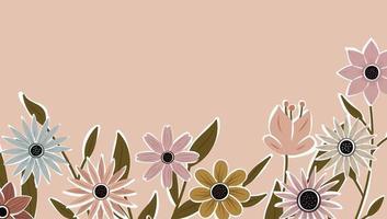toile de fond horizontale décorée de fleurs épanouies et bordure de feuilles. vecteur