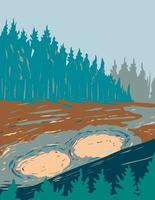 Volcan de boue dans le parc national de Yellowstone Wyoming usa wpa poster art vecteur