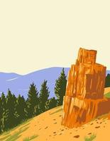 arbre pétrifié dans la grande boucle road dans le parc national de Yellowstone art wpa vecteur