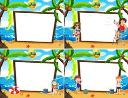 Thème de plage d'été modèle de tableau blanc
