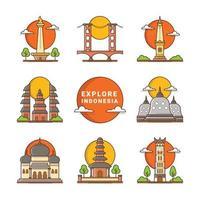 ensemble d'icônes de monuments indonésiens vecteur