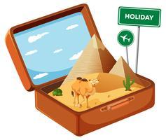 Désert égyptien dans une valise vecteur