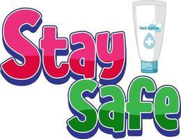 restez en sécurité police avec produit désinfectant pour les mains isolé vecteur