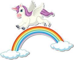 adorables autocollants licorne avec un pégase volant au-dessus de l'arc-en-ciel vecteur