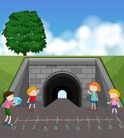 Un groupe d'enfants jouant à un jeu de maths vecteur