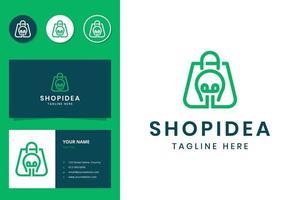 création de logo d'art de ligne shopping et ampoule vecteur