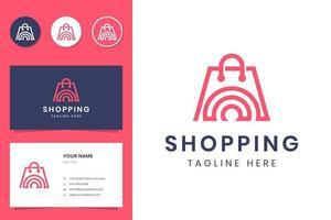 création de logo d'art de ligne de magasinage et carte de visite vecteur