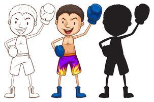 Croquis d'un boxeur de différentes couleurs vecteur
