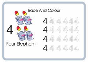compter trace et couleur éléphant numéro 4 vecteur