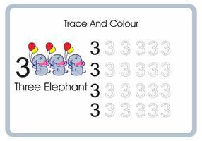 compter trace et couleur éléphant numéro 3 vecteur