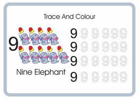 compter trace et couleur éléphant numéro 9 vecteur