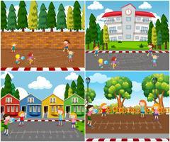 Enfants jouant aux jeux de mathématiques en plein air vecteur