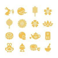 jeu d'icônes du festival de la mi-automne vecteur