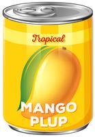 Boîte de pulpe de mangue tropicale vecteur